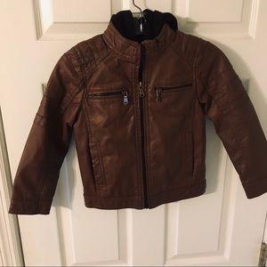 Urban Republic boys leather zip up jacket hooded 6